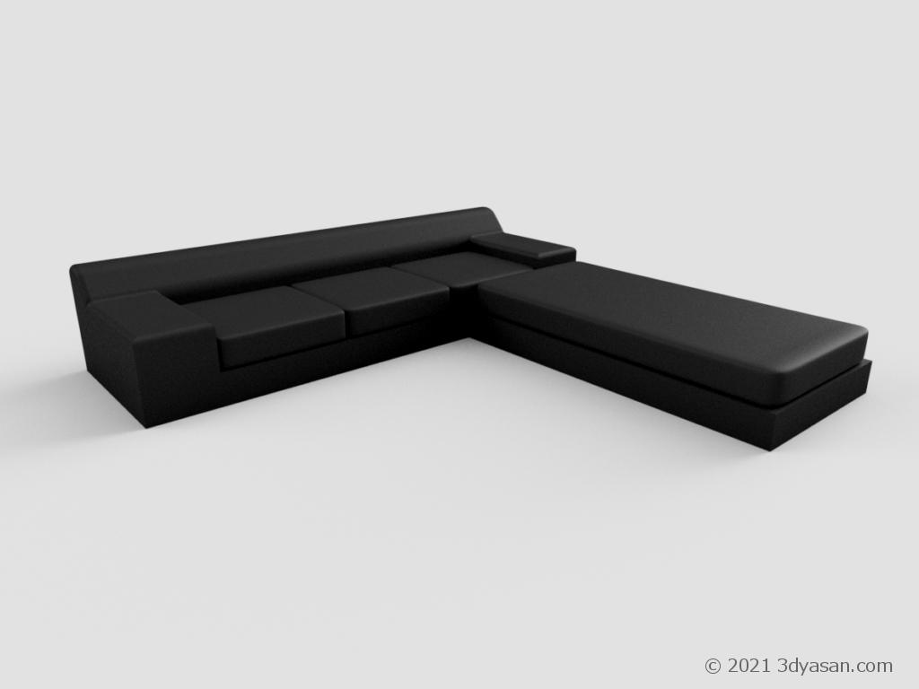 カウチ付きL字ソファの3Dモデル