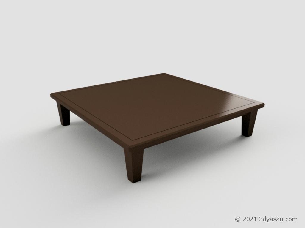 大きめなローテーブルの3Dモデル