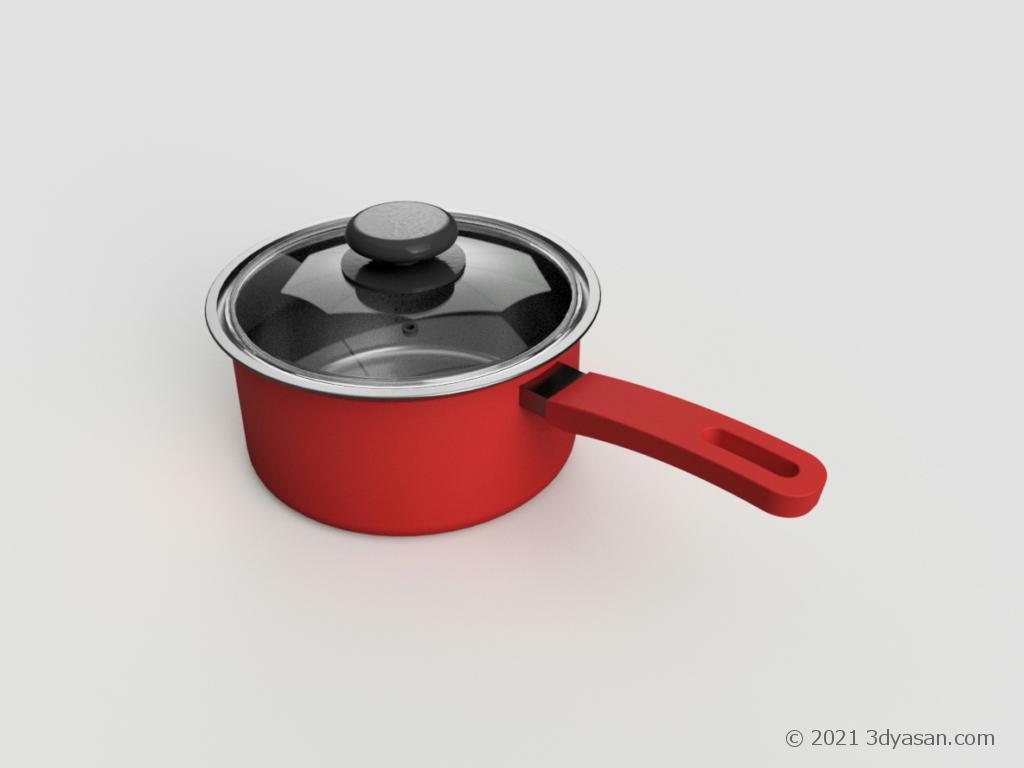 片手鍋の3Dモデル