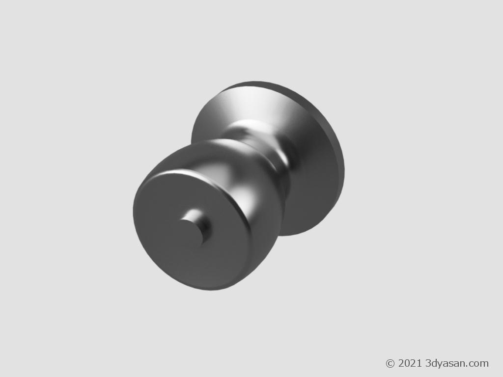 簡易鍵付きのドアノブの3Dモデル