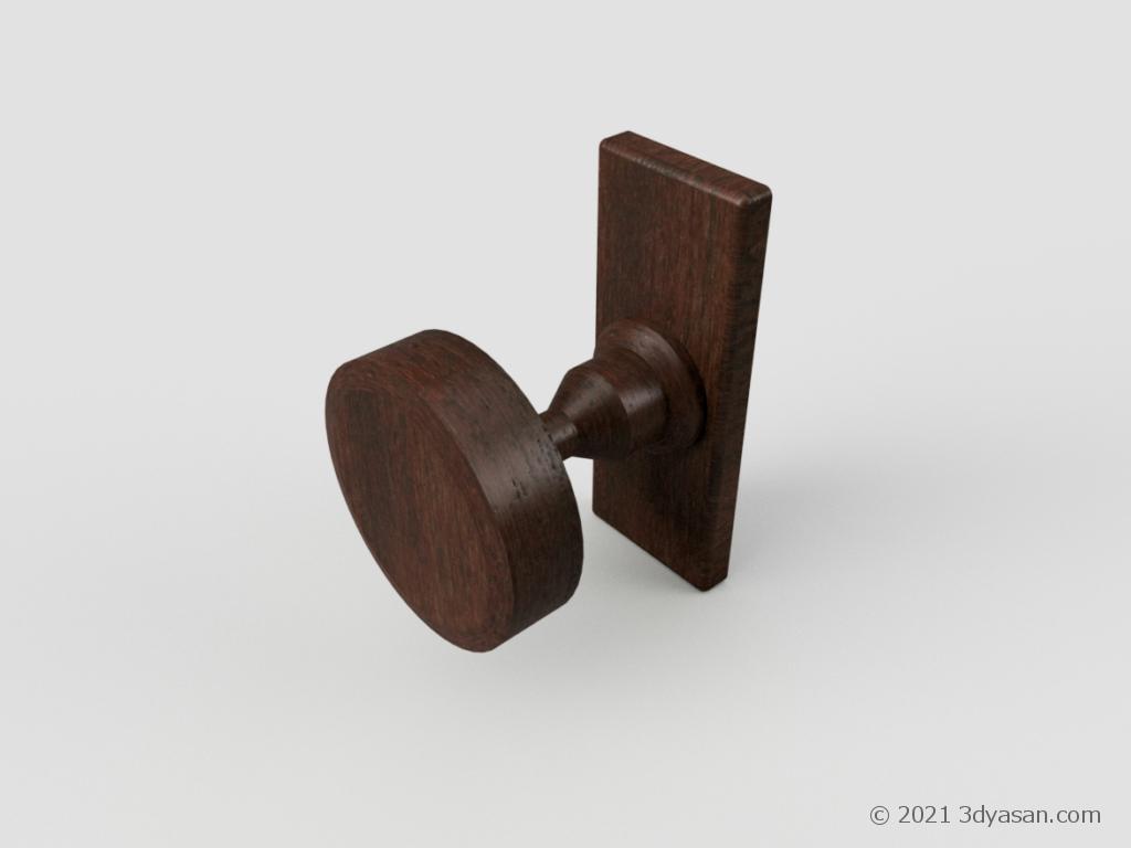 木製ドアノブの3Dモデル