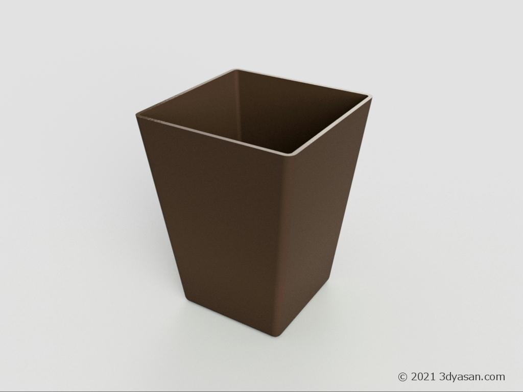 四角いゴミ箱の3Dモデル