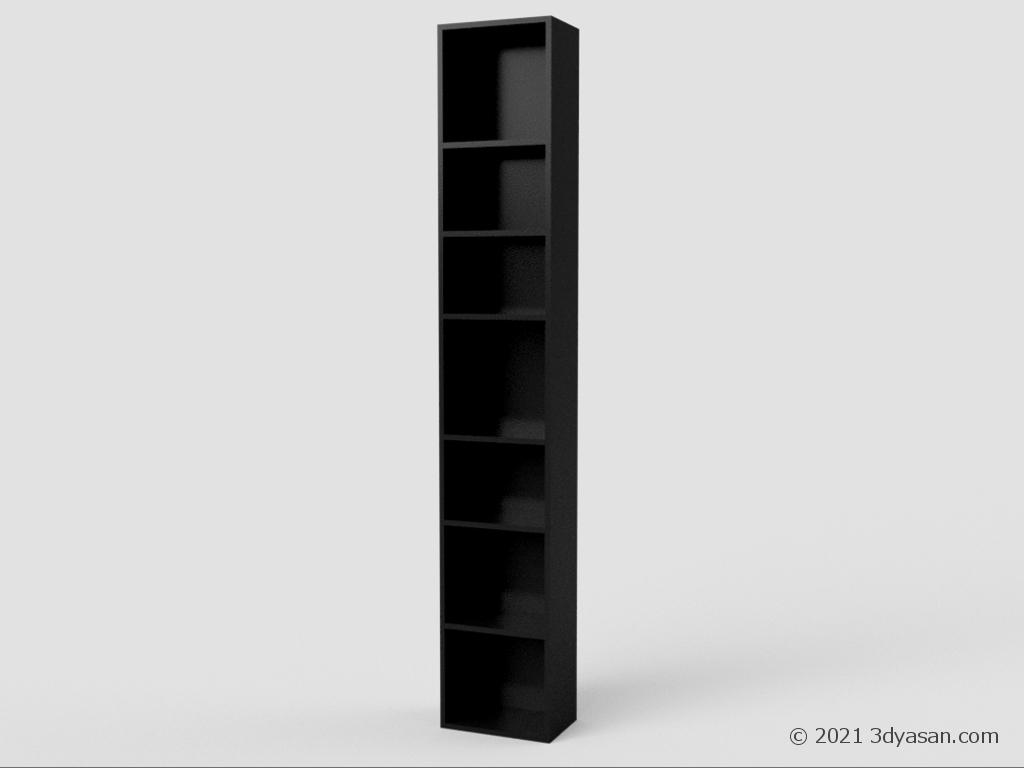 細長い本棚の3Dモデル