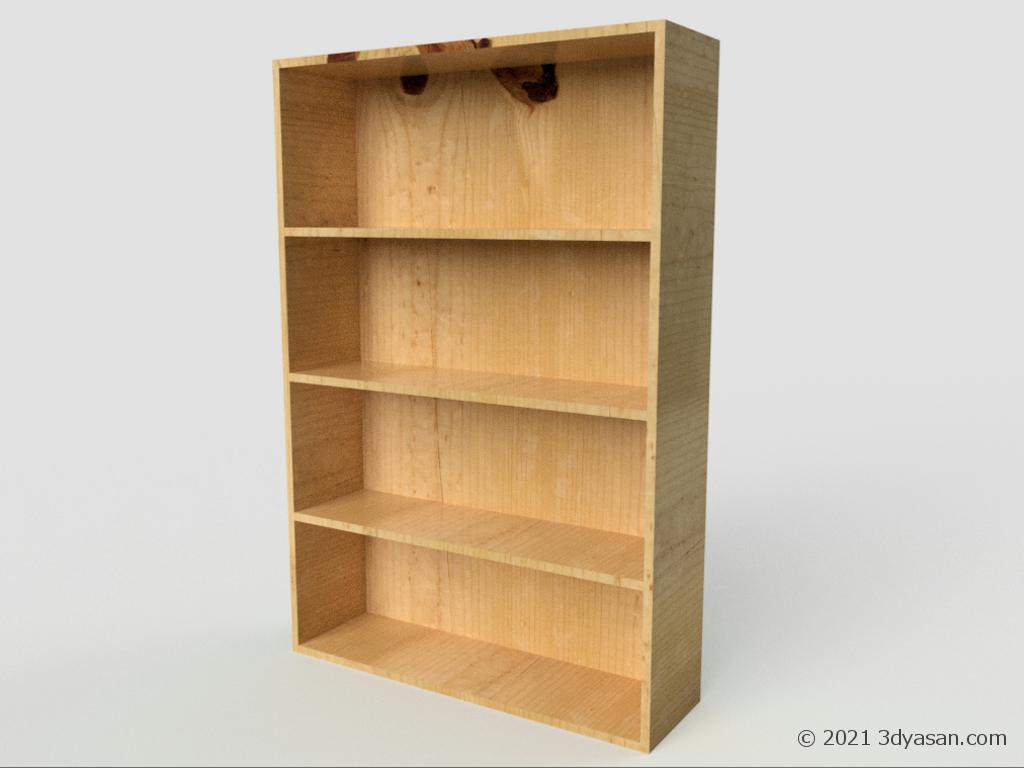 木製の本棚の3Dモデル
