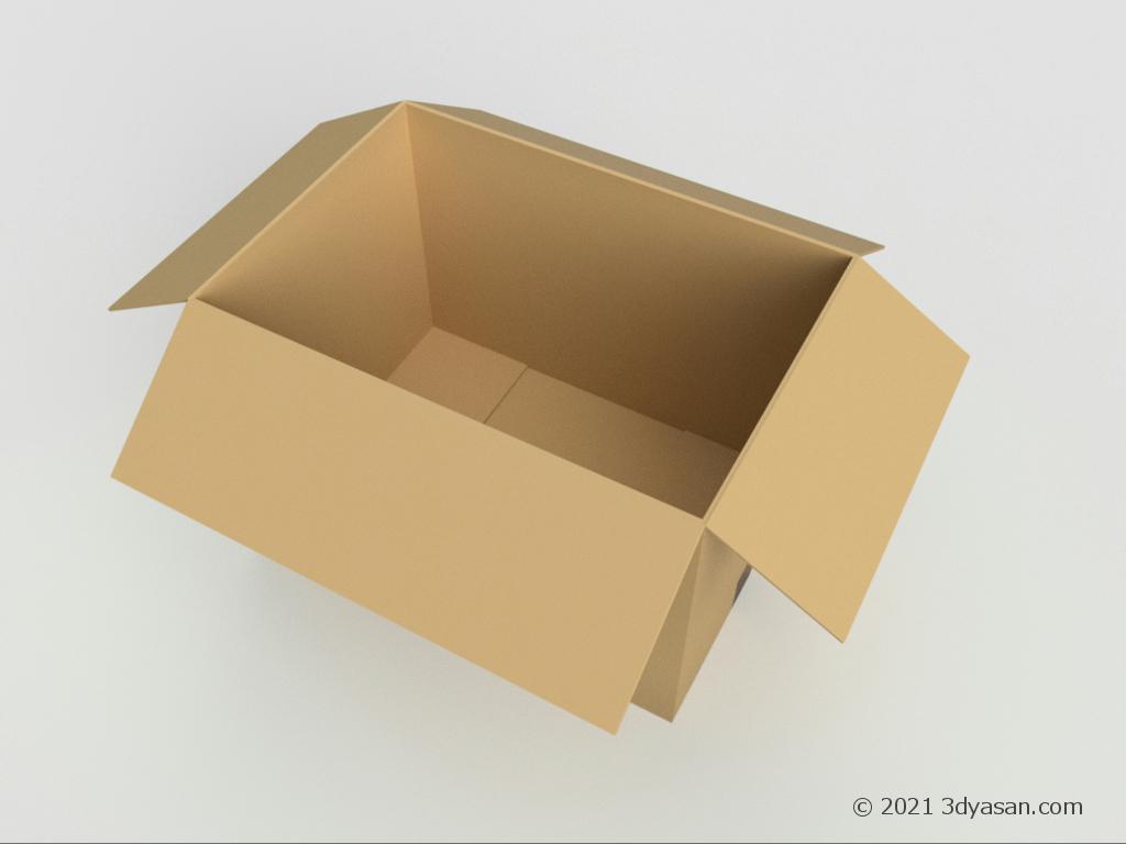 開いたダンボールの3Dモデル