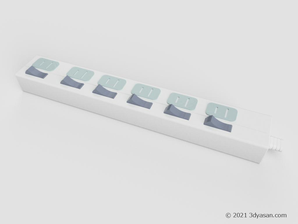 延長タップ(延長コード)の3Dモデル