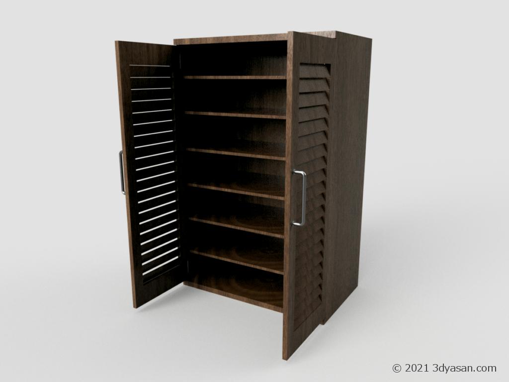開いた靴箱の3Dモデル
