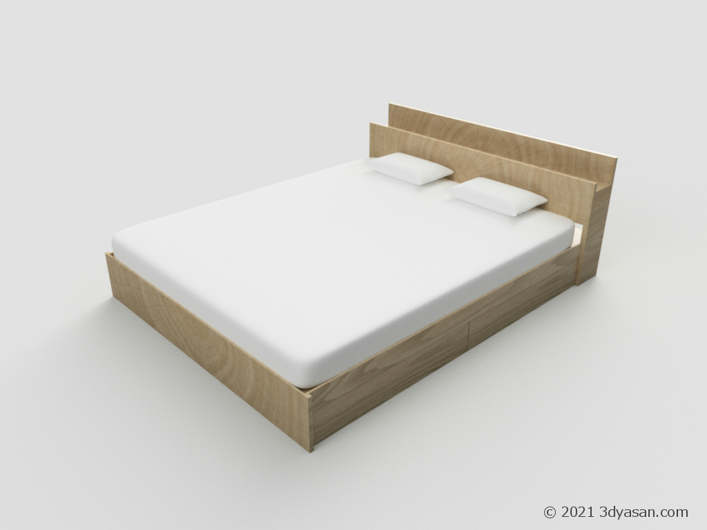 クイーンサイズベッドの3Dモデル