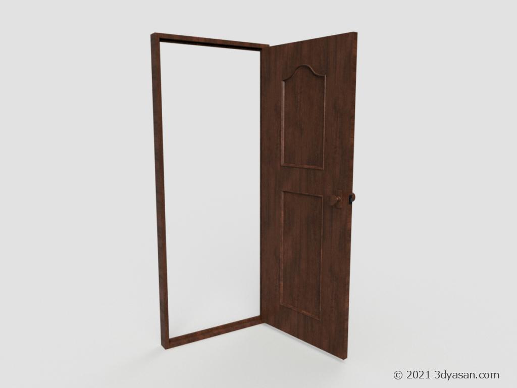 開いたドアの3Dモデル