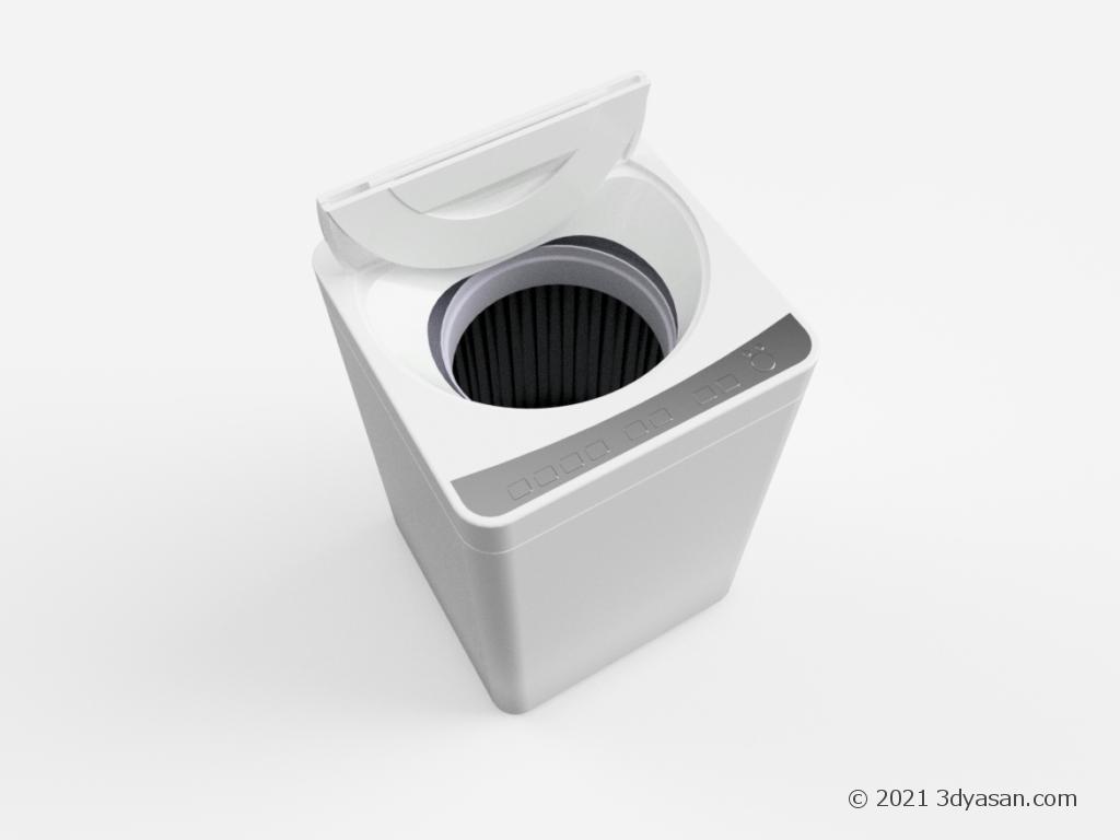 開いた縦型洗濯機の3Dモデル