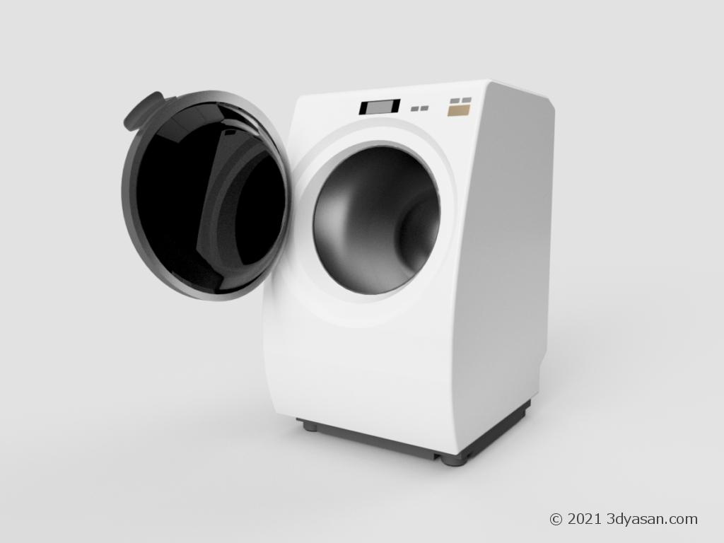 開いたラム式洗濯機の3Dモデル