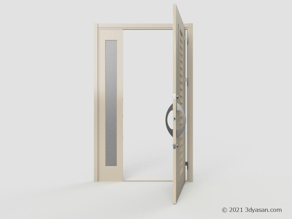 開いた玄関ドアの3Dモデル