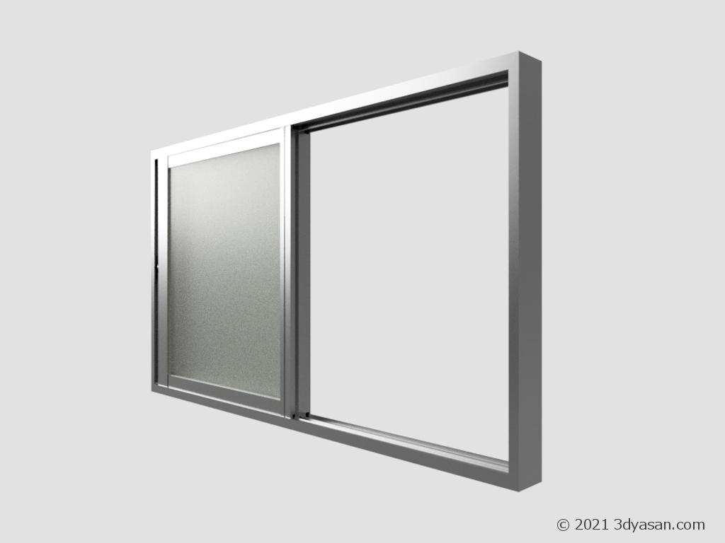 開いた窓の3Dモデル