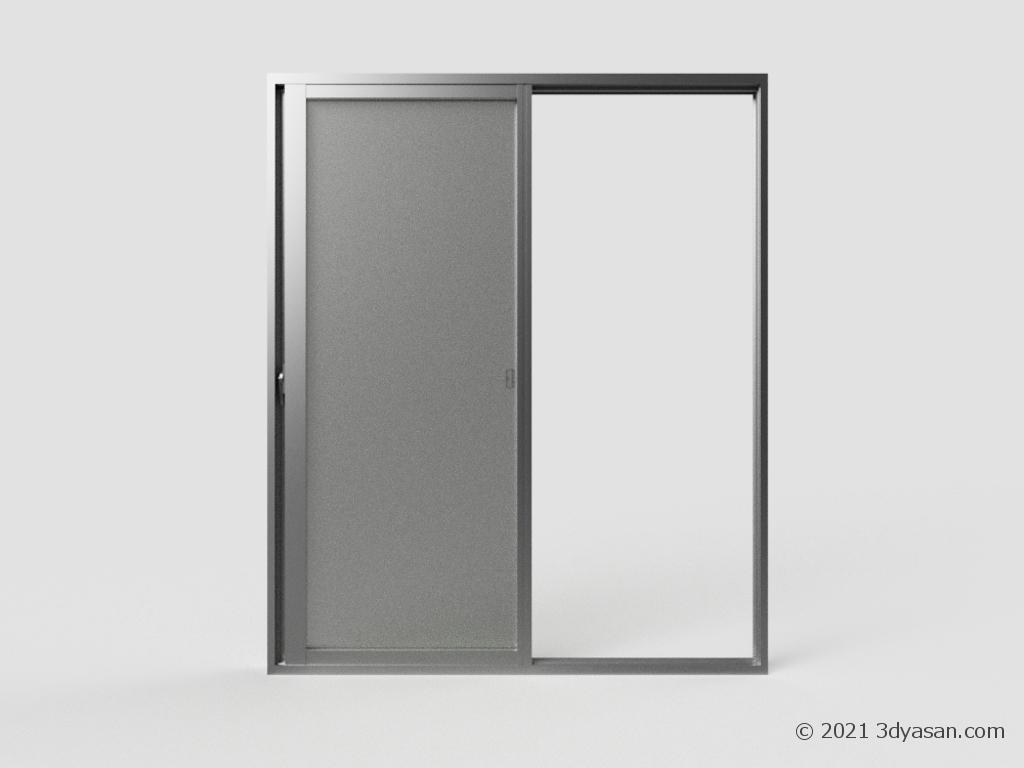 開いた掃き出し窓の3Dモデル