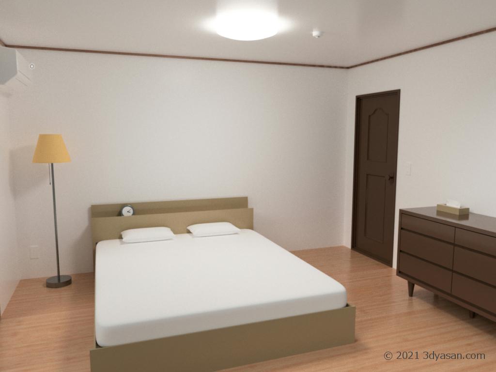 寝室の3Dモデル