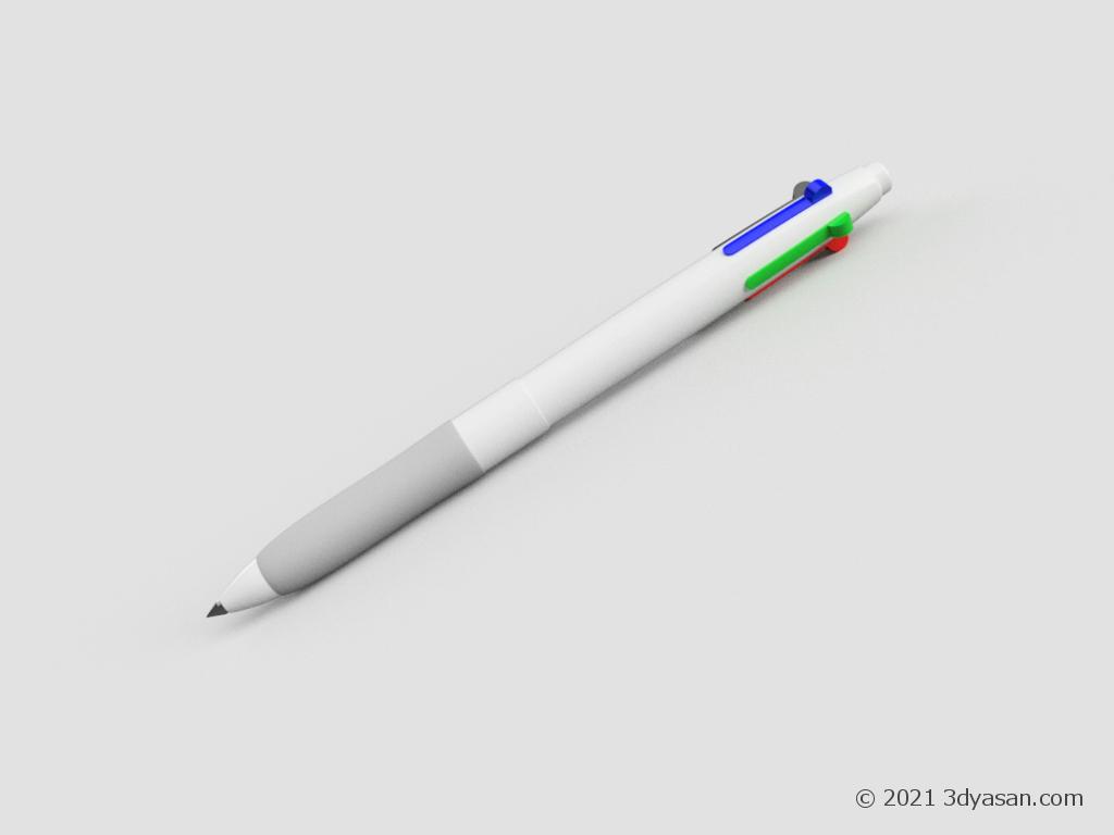 4色ボールペンの3Dモデル