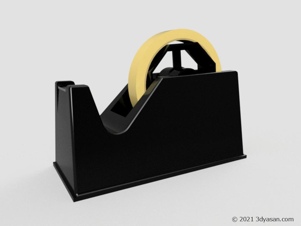 セロテープがセットされたテープカッターの3Dモデル
