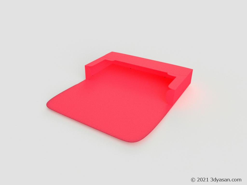 開いたペンケースの3Dモデル