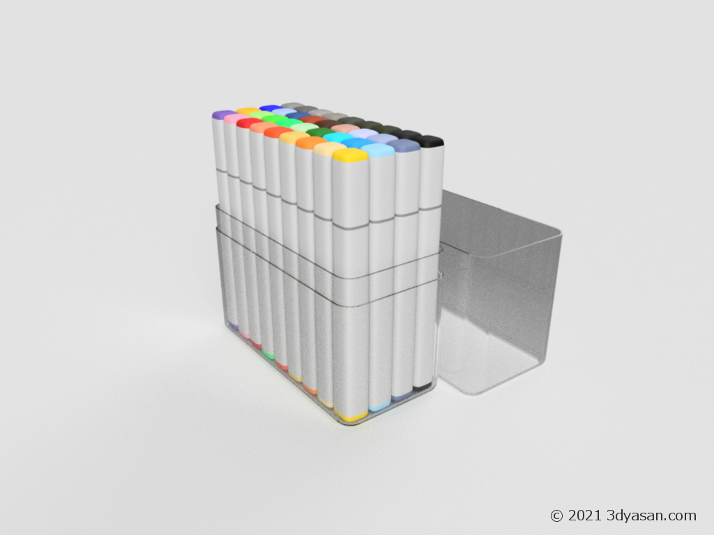 イラストマーカー36色セットの3Dモデル