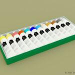絵の具12色セットの3Dモデル