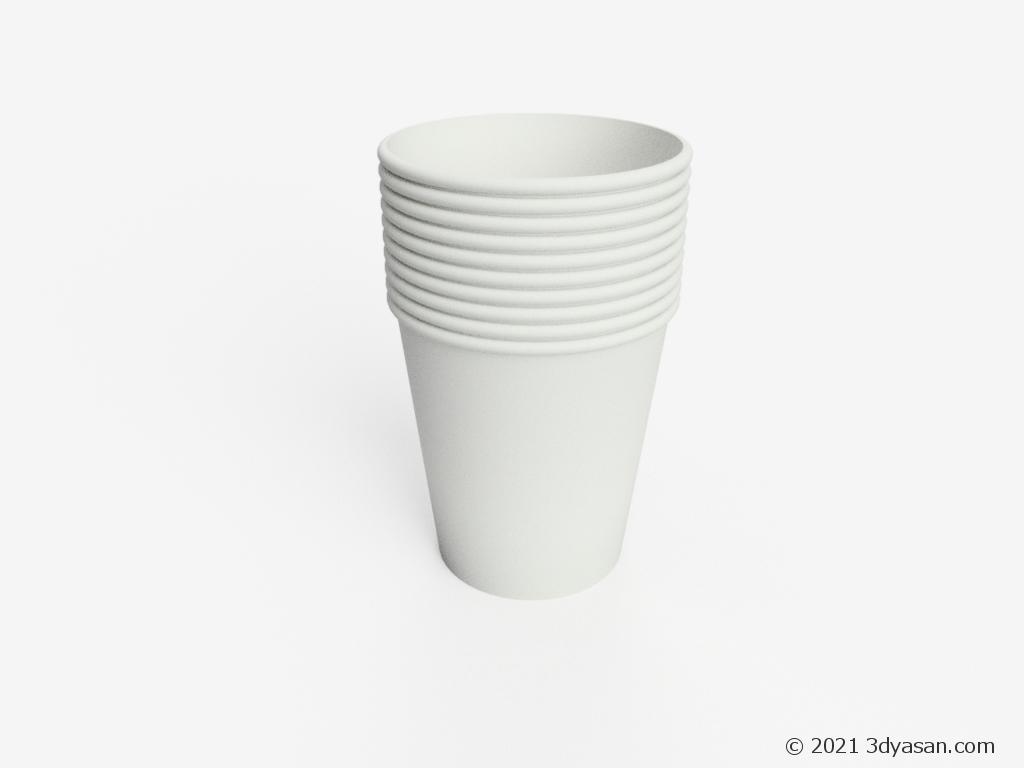 積まれた紙コップの3Dモデル