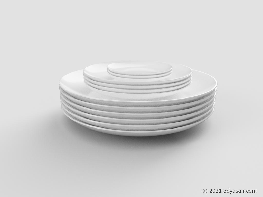 積まれた丸皿の3Dモデル