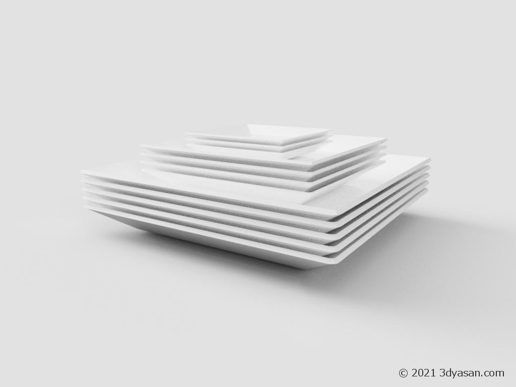 積まれた角皿の3Dモデル