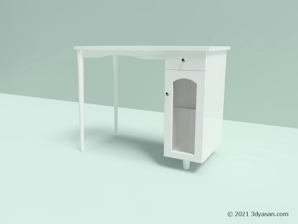 白いデスクの3Dモデル