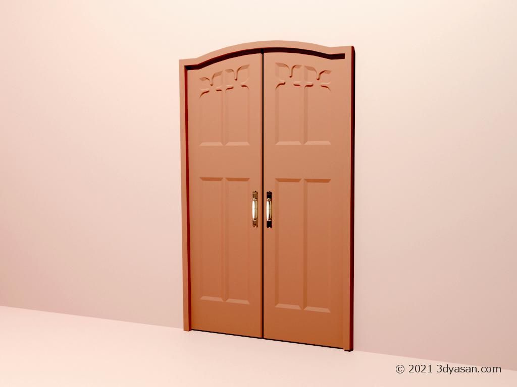 アンティーク風の両開きドアの3Dモデル