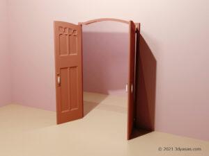開いたアンティーク風の両開きドアの3Dモデル