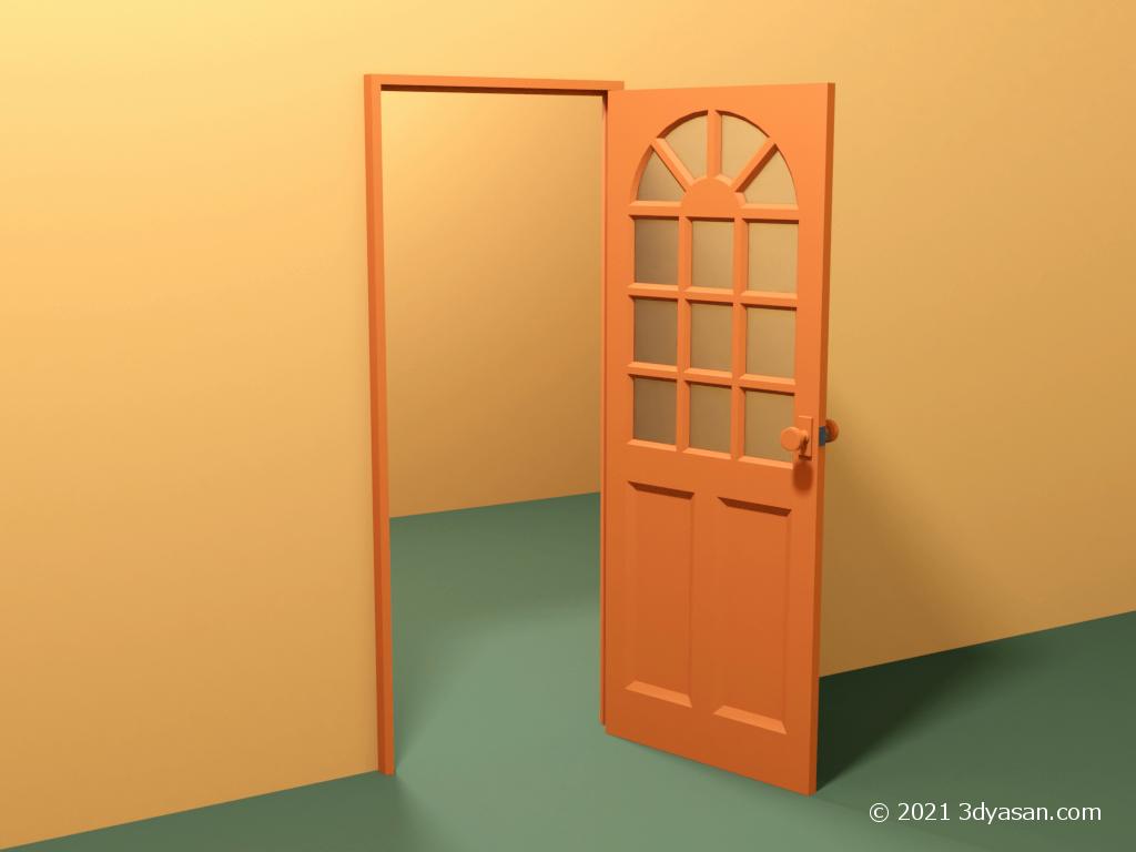 開いたカフェ風ドアの3Dモデル