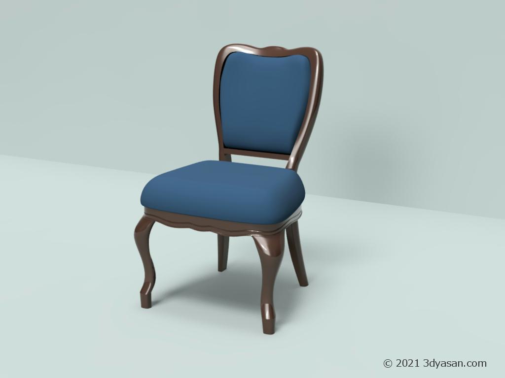 アンティーク調の椅子の3Dモデル