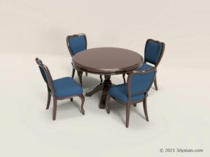 アンティーク調のテーブルセットの3Dモデル