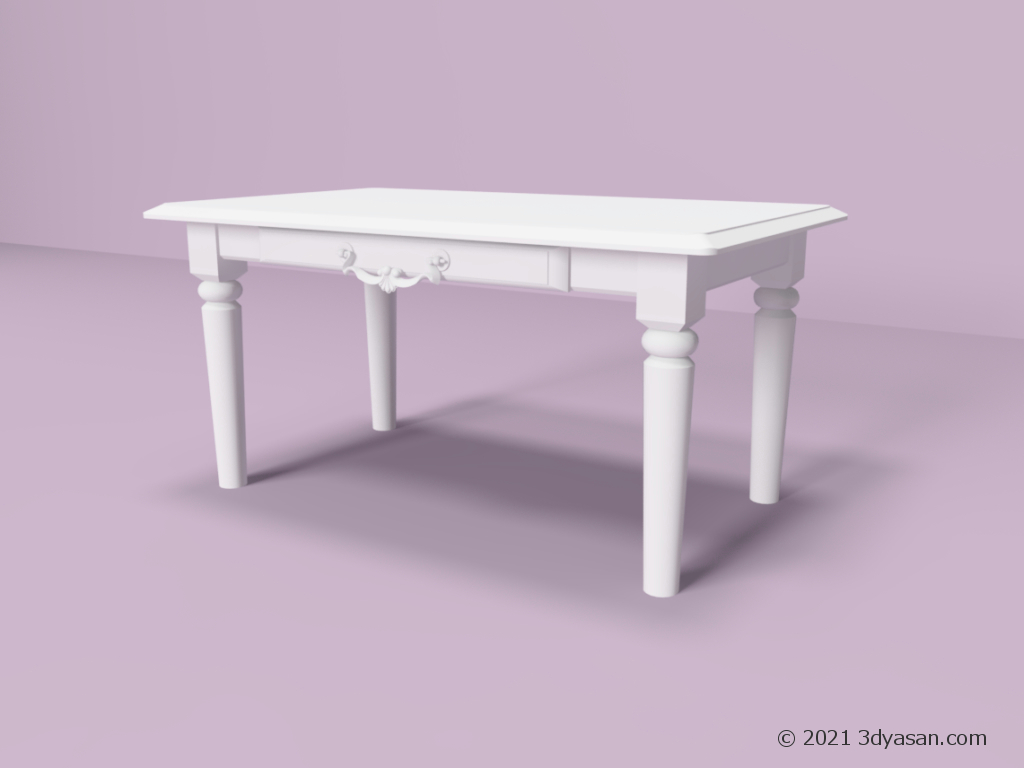 シャビーシックな白いセンターテーブルの3Dモデル