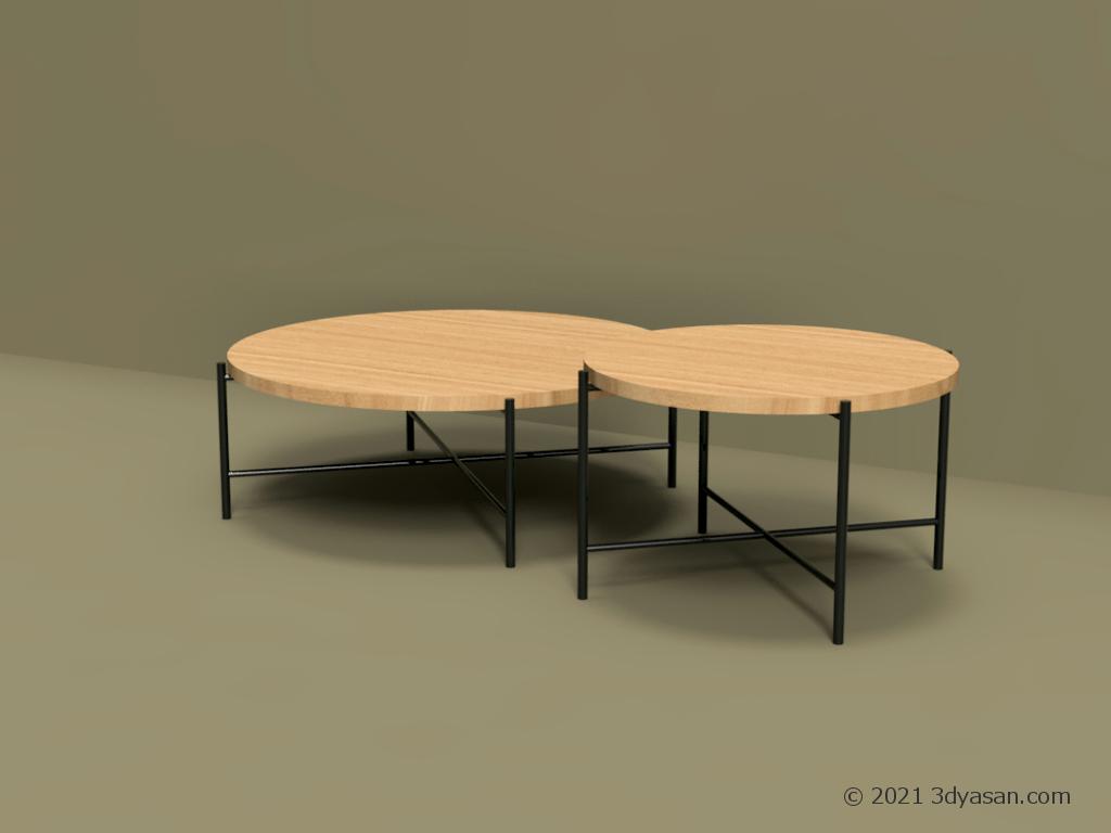 ローテーブル2個セットの3Dモデル