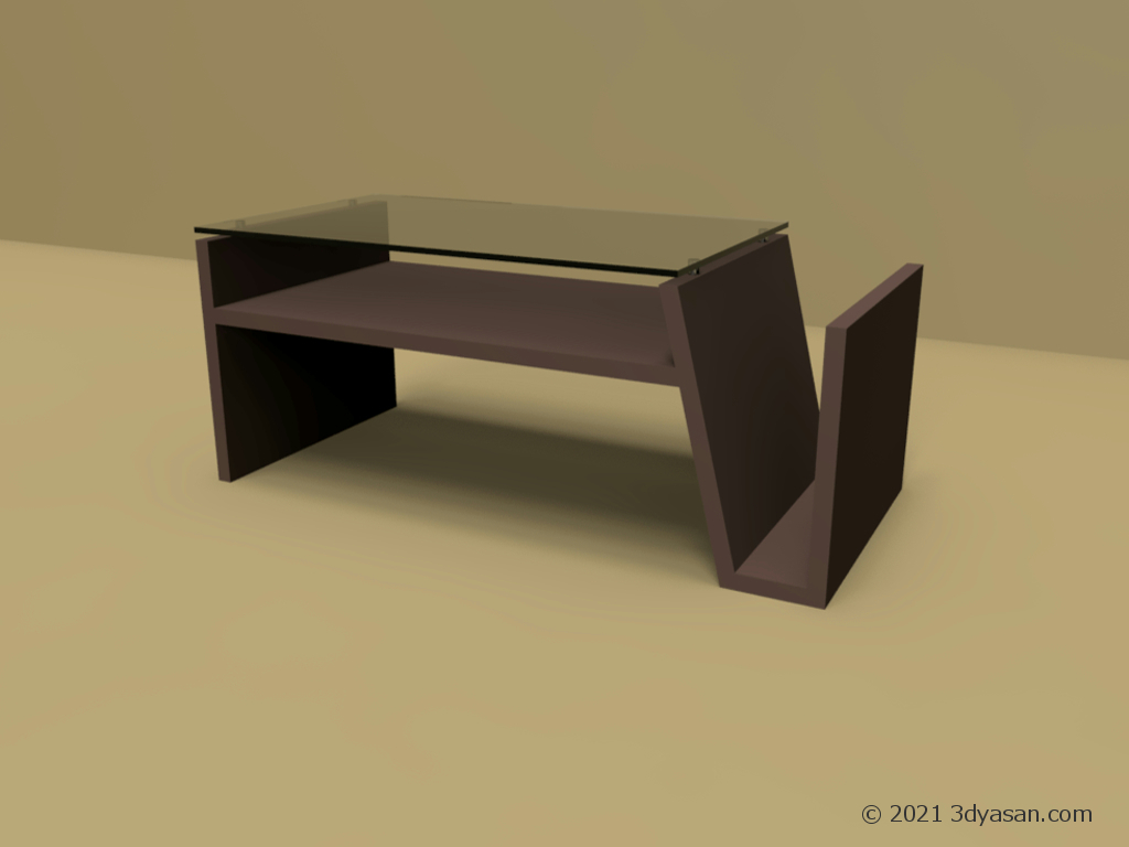 マガジンラック付きセンターテーブルの3Dモデル