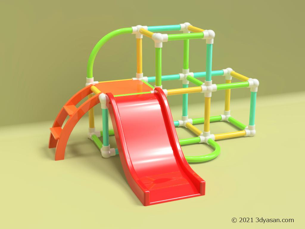 子供向け室内用滑り台の3Dモデル