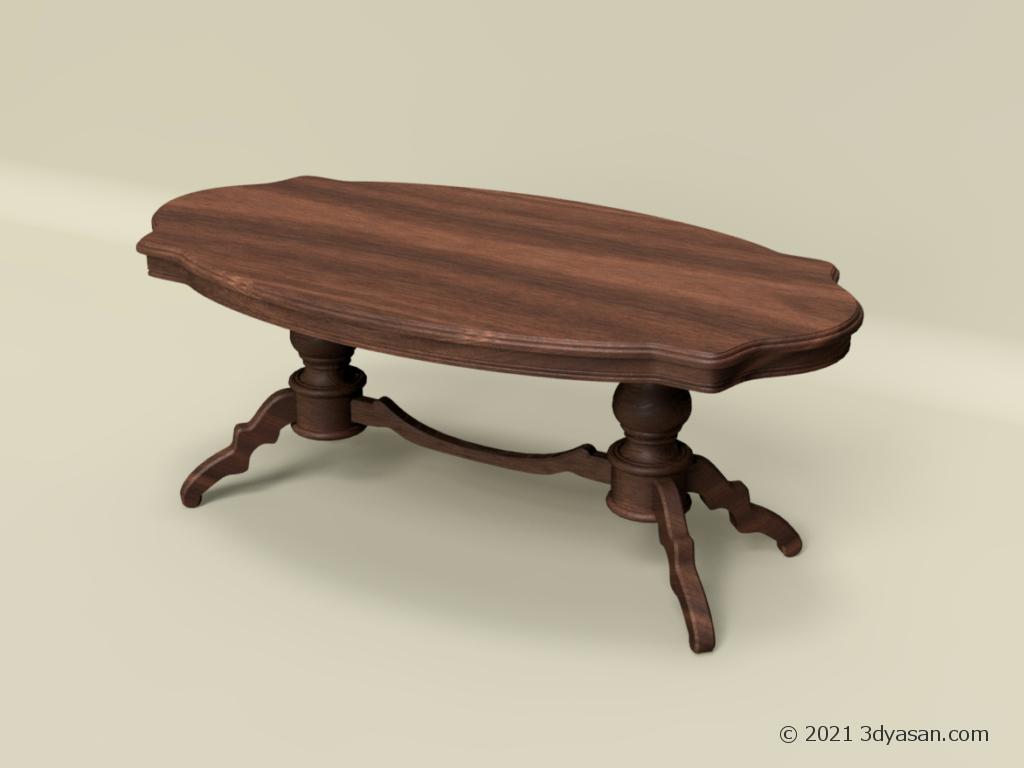 アンティーク調のセンターテーブルの3Dモデル