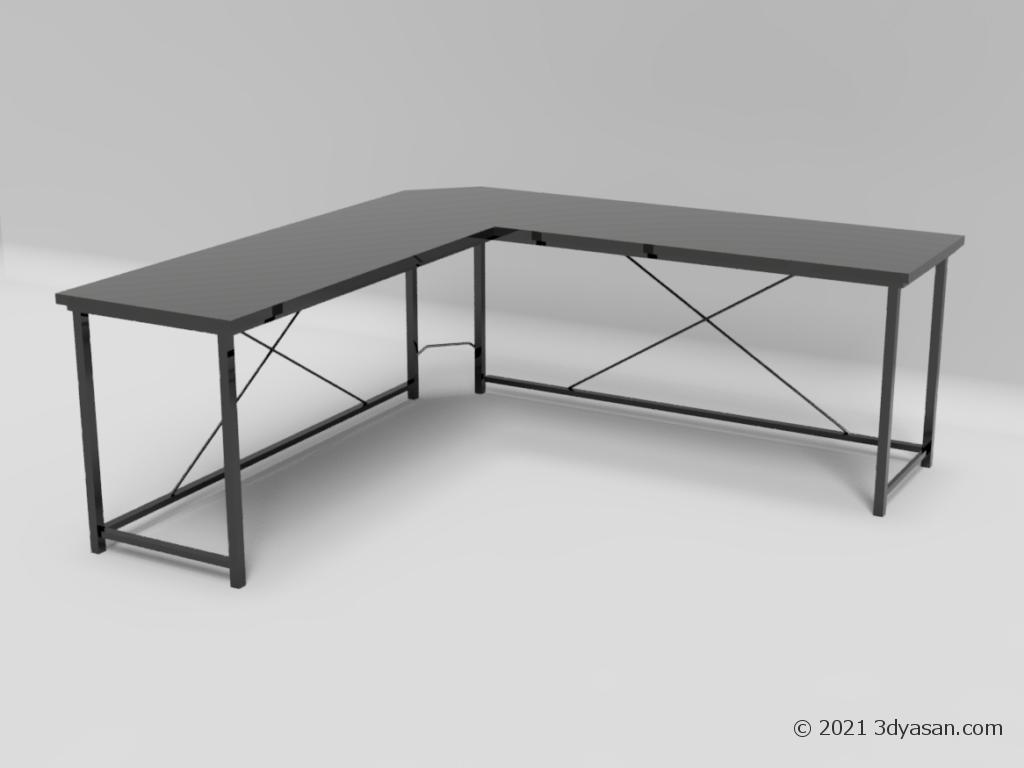 L字デスクの3Dモデル