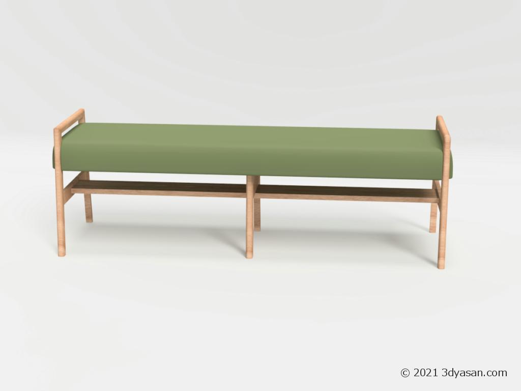 4人掛けダイニングベンチの3Dモデル