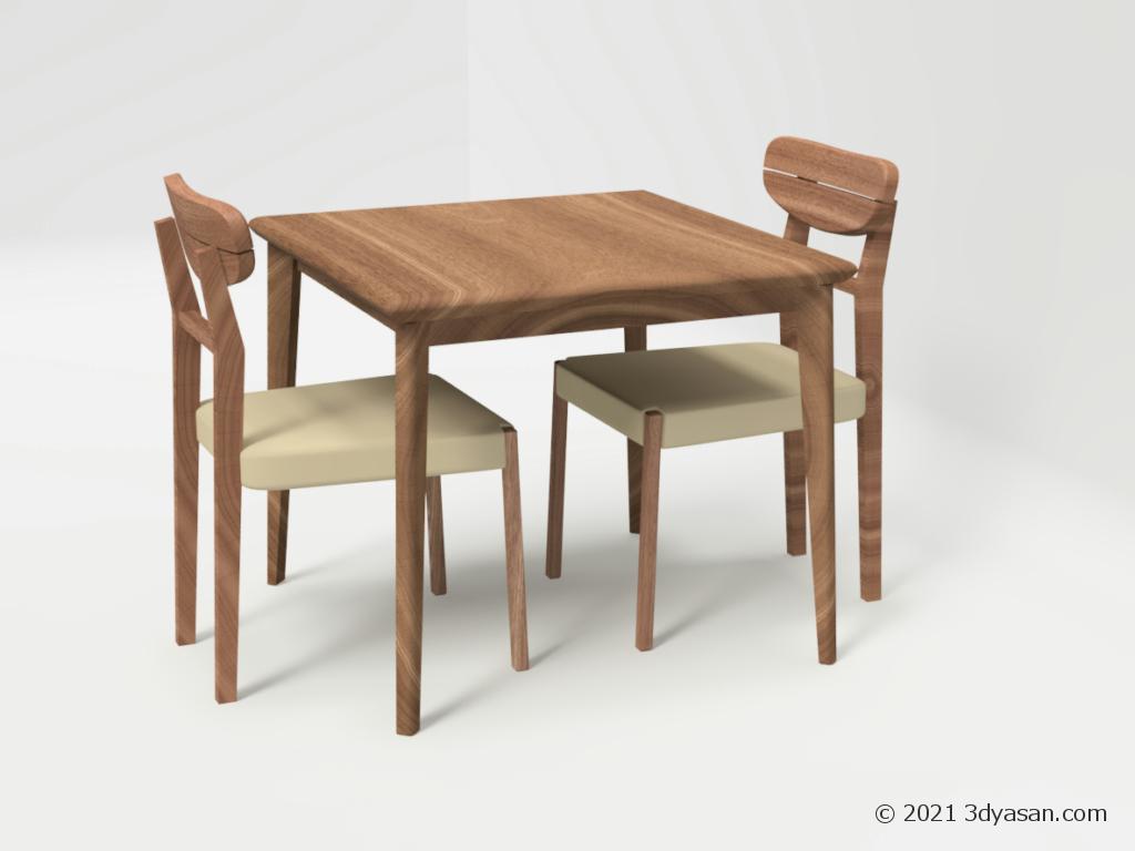 2人掛けダイニングテーブルセットの3Dモデル