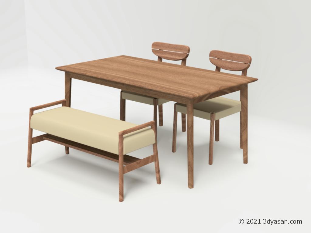 4人掛けダイニングテーブルセットの3Dモデル