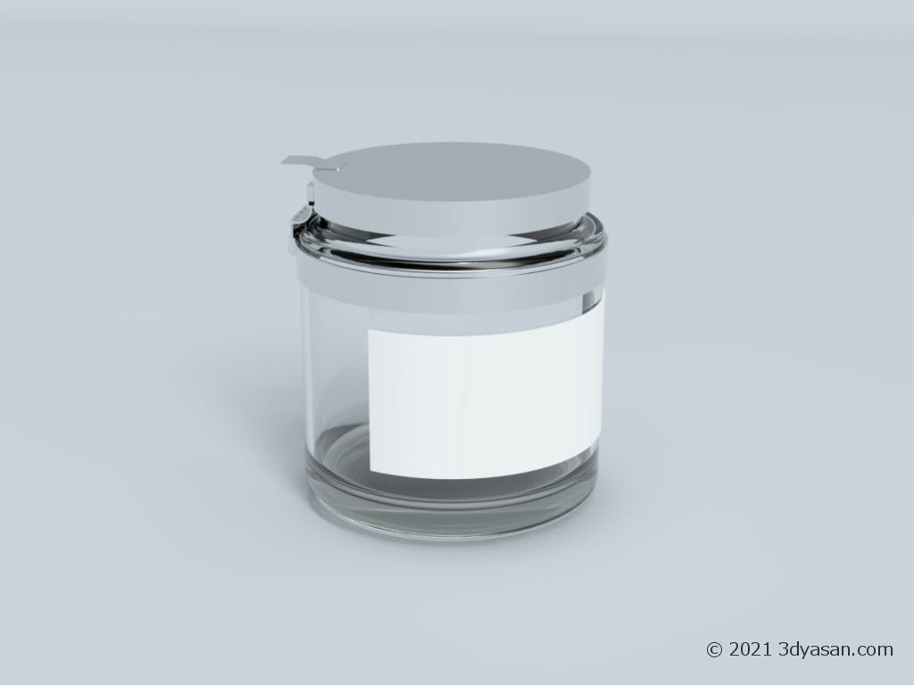 ラベル付きガラス瓶の3Dモデル