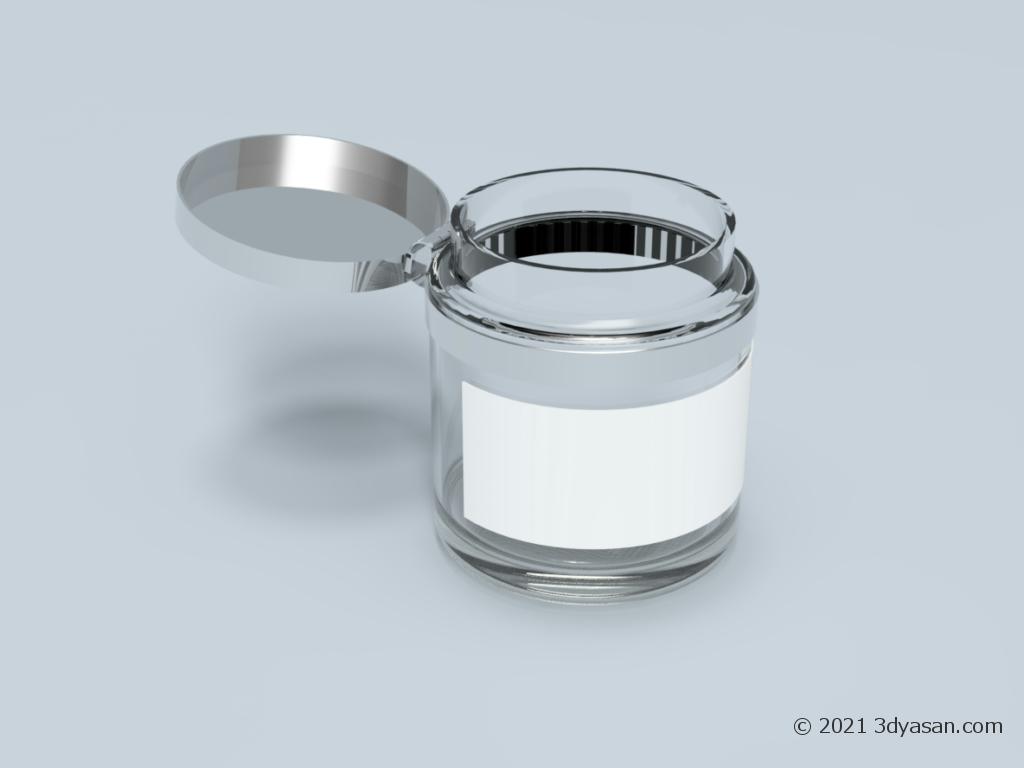 開いたラベル付きガラス瓶の3Dモデル