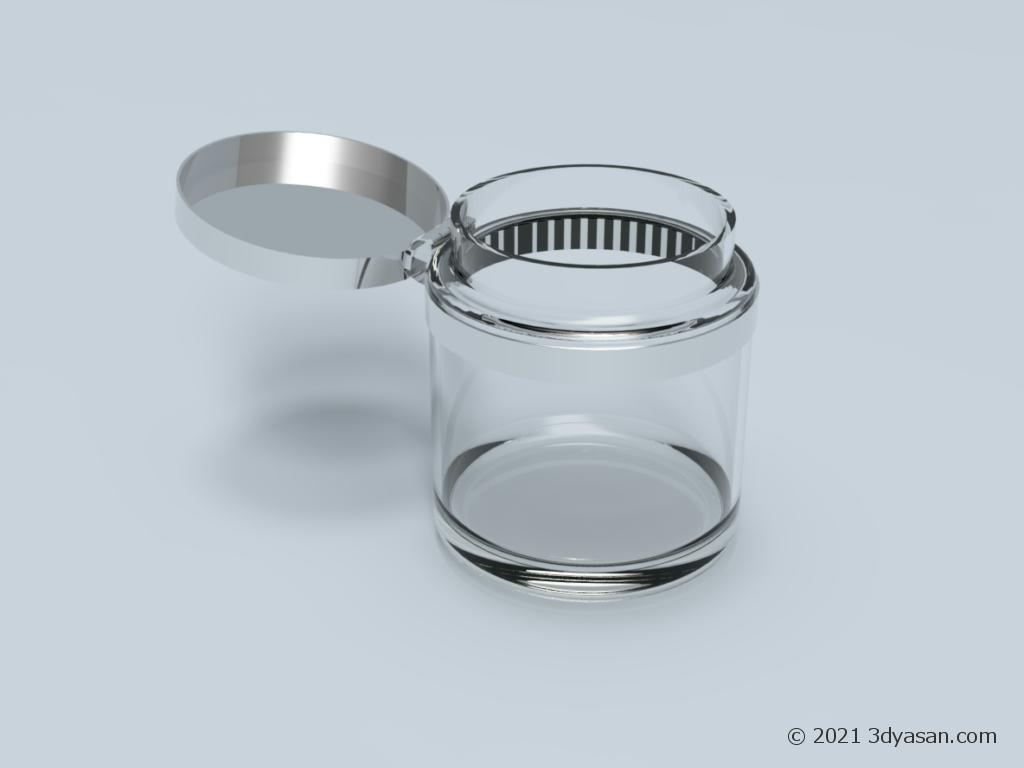 開いたガラス瓶の3Dモデル