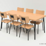 6人掛けダイニングテーブルセットの3Dモデル