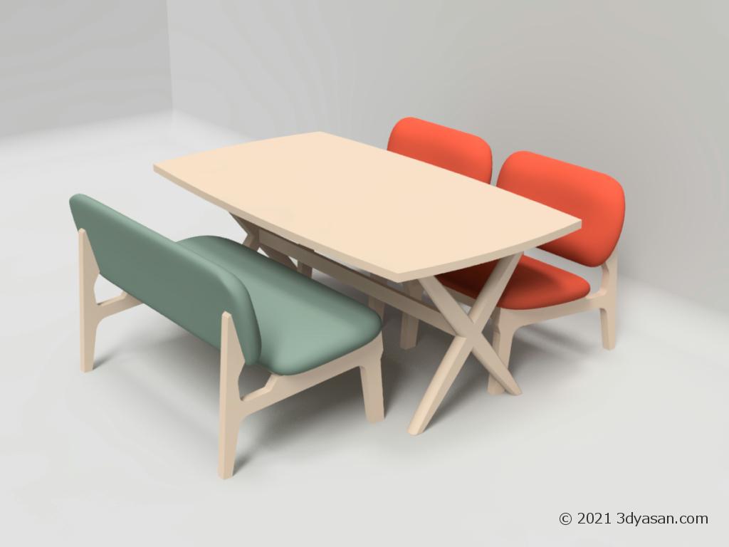 4人掛けダイニングローテーブルセットの3Dモデル