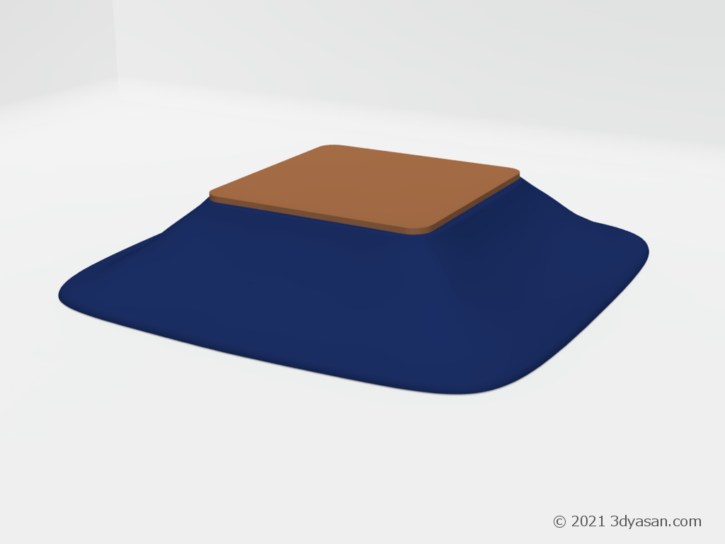 青いこたつの3Dモデル