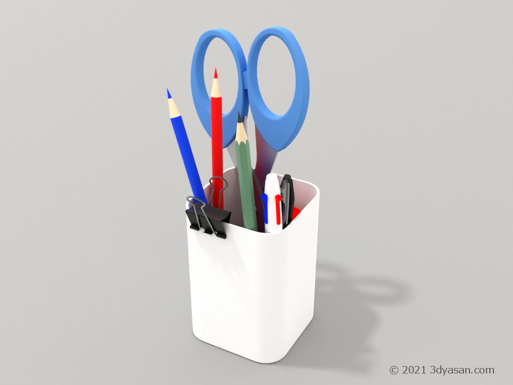 文房具が色々入った白いペン立ての3Dモデル