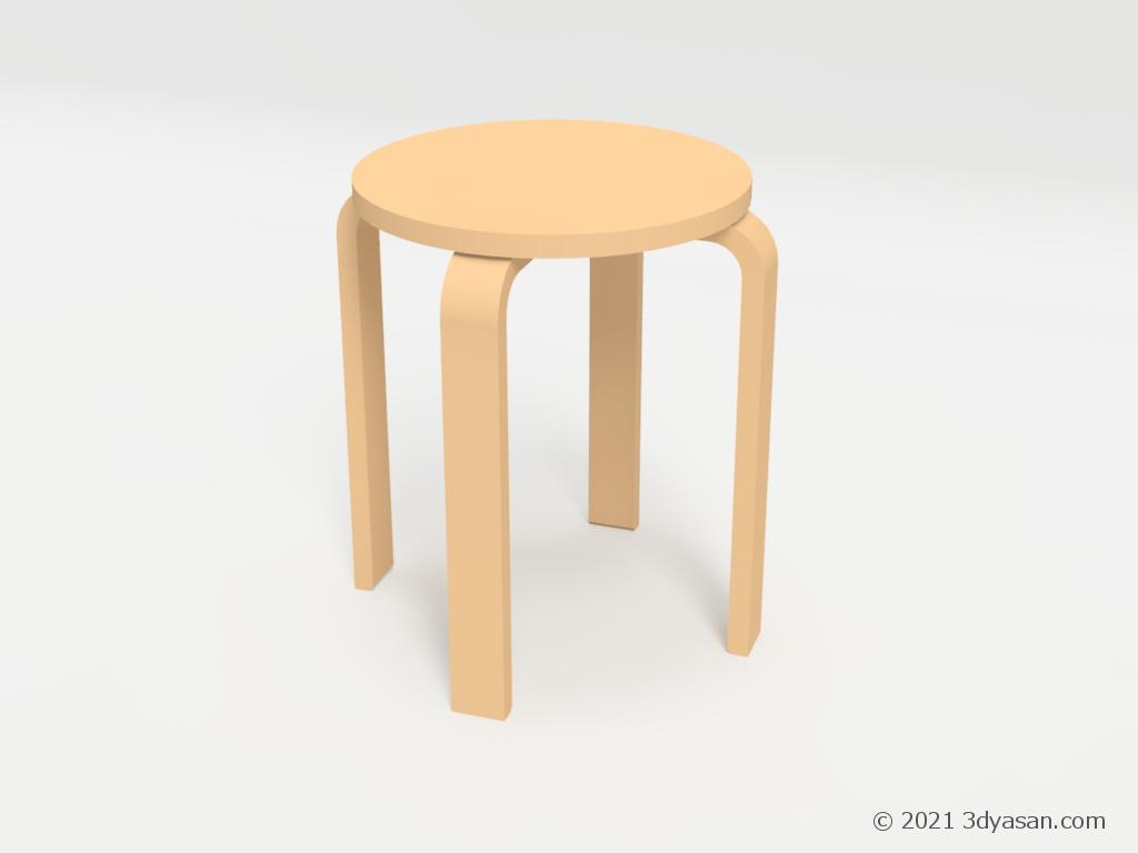 木製のシンプルなスツールの3Dモデル